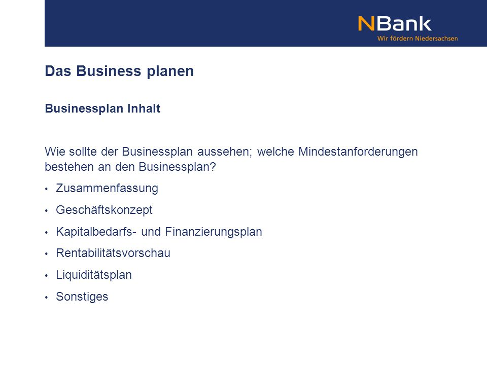 Das Business planen Businessplan Inhalt