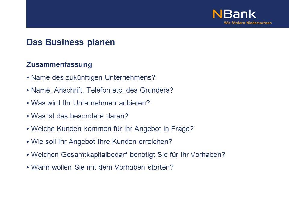 Das Business planen Zusammenfassung Name des zukünftigen Unternehmens