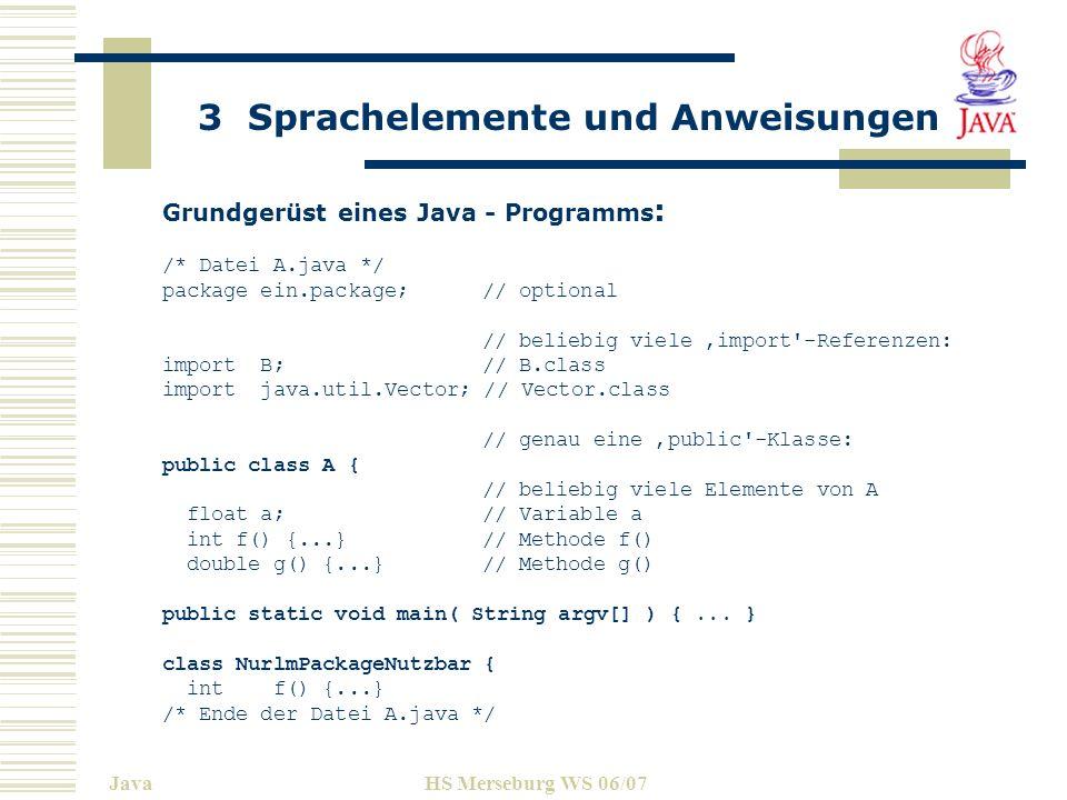 Grundgerüst eines Java - Programms: