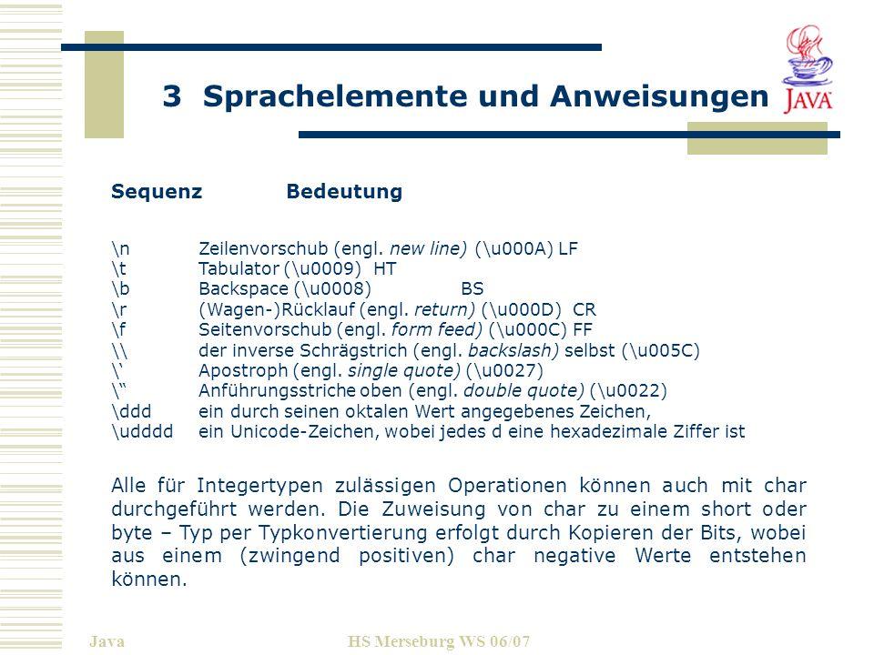 Sequenz Bedeutung\n Zeilenvorschub (engl. new line) (\u000A) LF. \t Tabulator (\u0009) HT. \b Backspace (\u0008) BS.