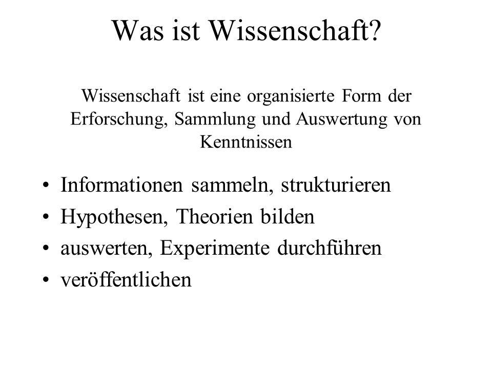 Was ist Wissenschaft Wissenschaft ist eine organisierte Form der Erforschung, Sammlung und Auswertung von Kenntnissen