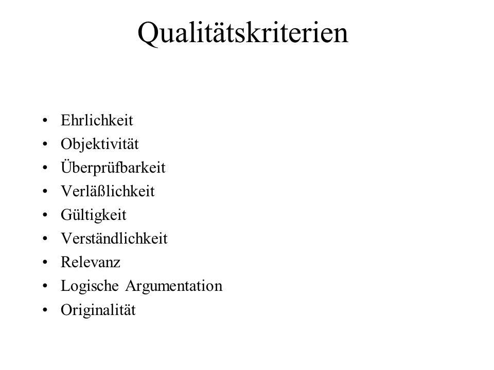 Qualitätskriterien Ehrlichkeit Objektivität Überprüfbarkeit