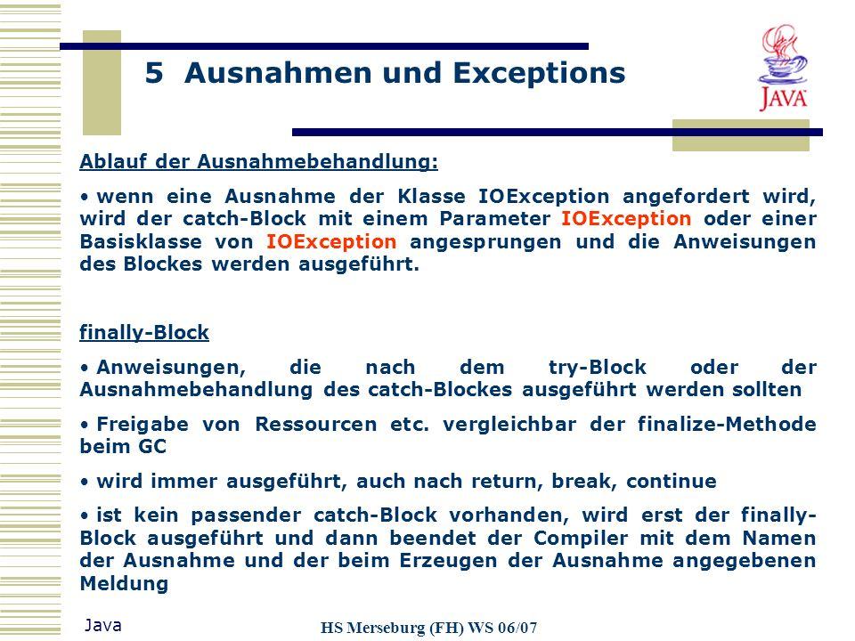 Ablauf der Ausnahmebehandlung: