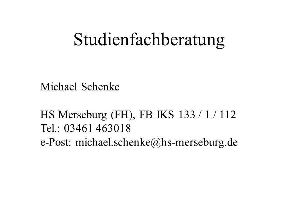 Studienfachberatung Michael Schenke