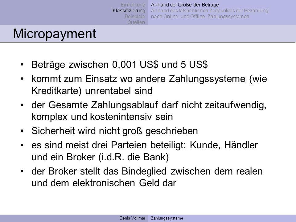 Micropayment Beträge zwischen 0,001 US$ und 5 US$