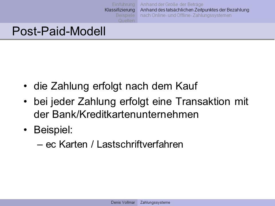 Post-Paid-Modell die Zahlung erfolgt nach dem Kauf