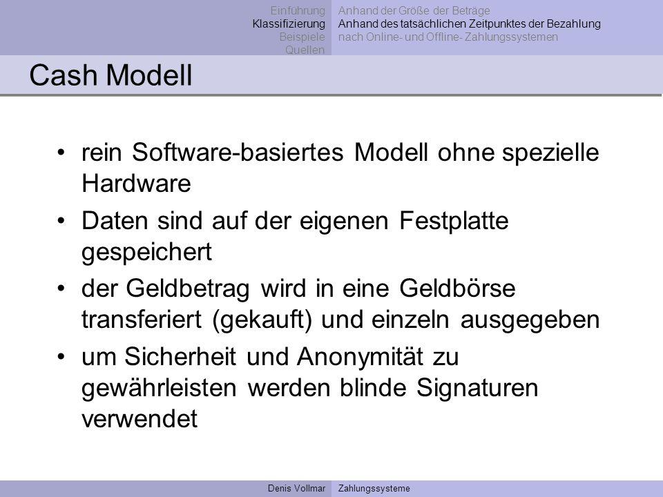 Cash Modell rein Software-basiertes Modell ohne spezielle Hardware