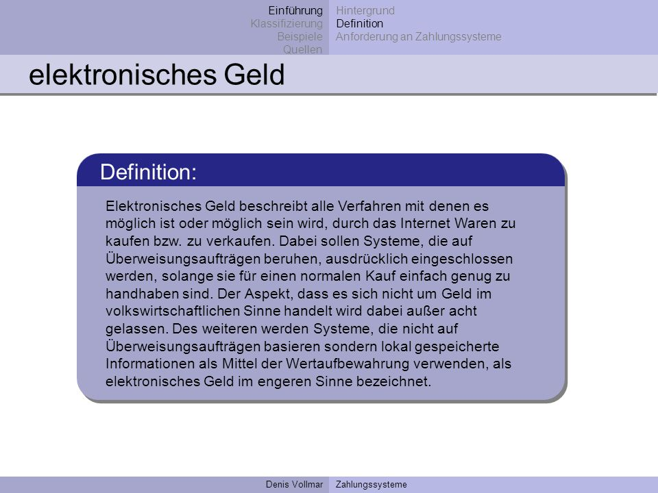 elektronisches Geld Definition: