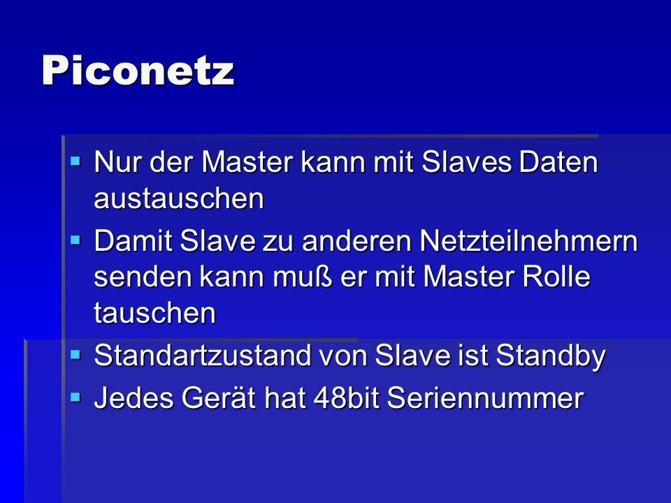 Piconetz Nur der Master kann mit Slaves Daten austauschen