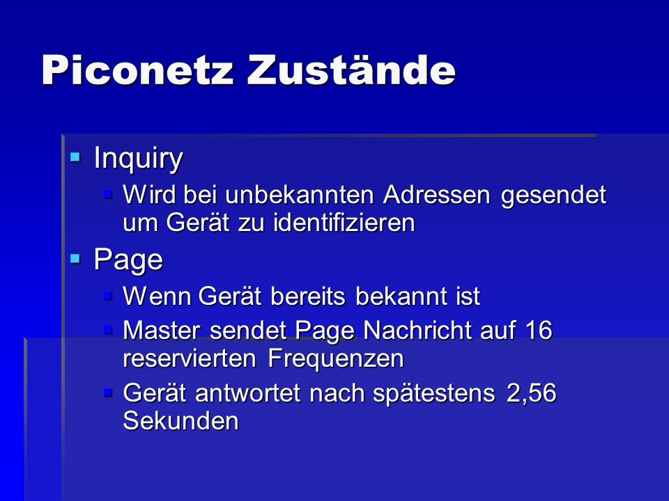 Piconetz Zustände Inquiry Page