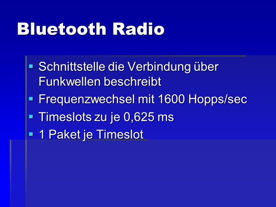Bluetooth Radio Schnittstelle die Verbindung über Funkwellen beschreibt. Frequenzwechsel mit 1600 Hopps/sec.
