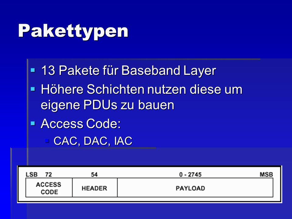 Pakettypen 13 Pakete für Baseband Layer