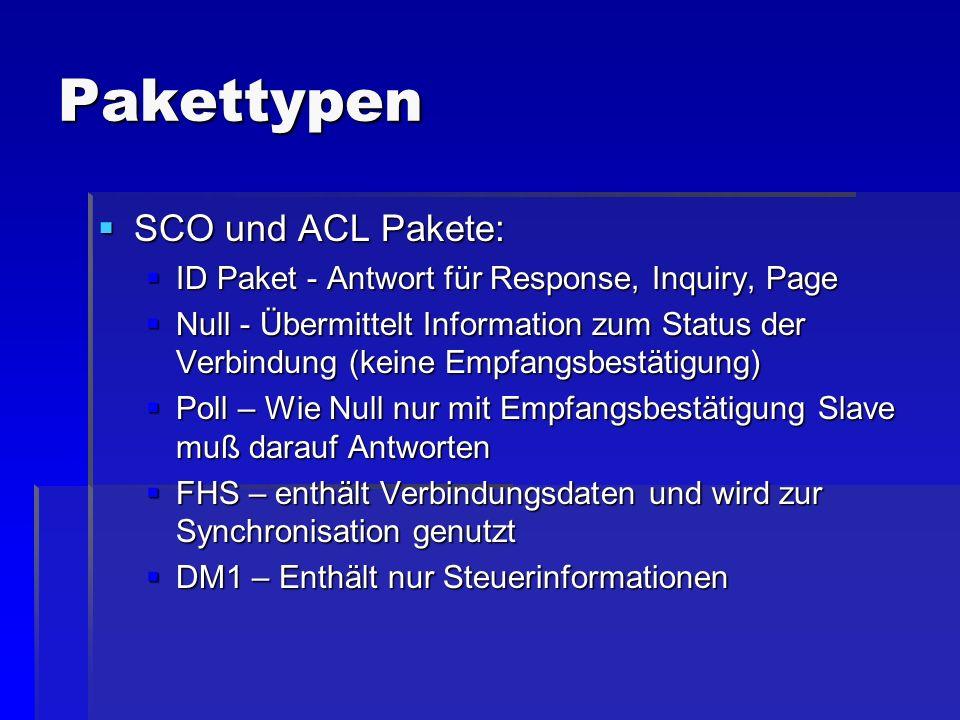 Pakettypen SCO und ACL Pakete: