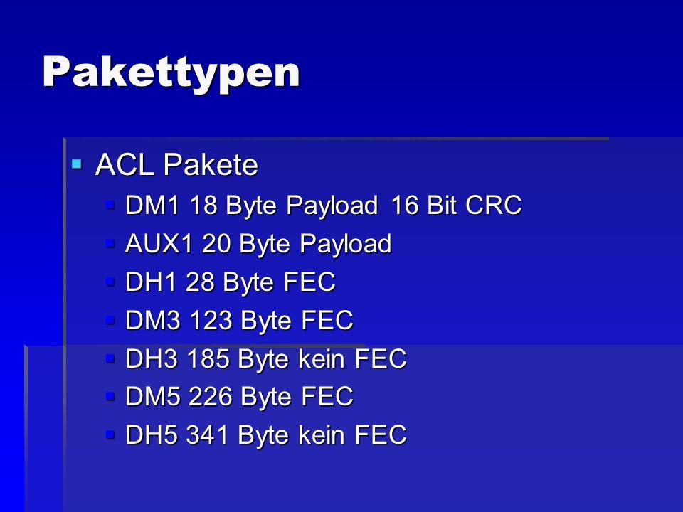 Pakettypen ACL Pakete DM1 18 Byte Payload 16 Bit CRC