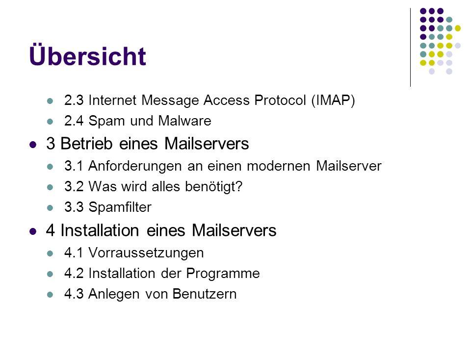 Übersicht 3 Betrieb eines Mailservers 4 Installation eines Mailservers