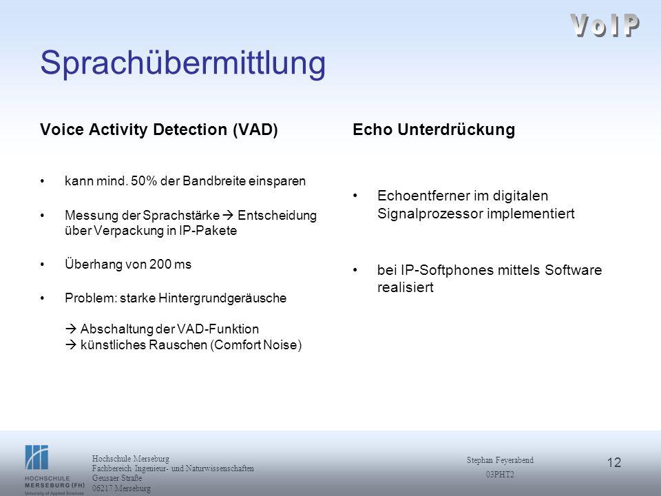 VoIP Sprachübermittlung Voice Activity Detection (VAD)