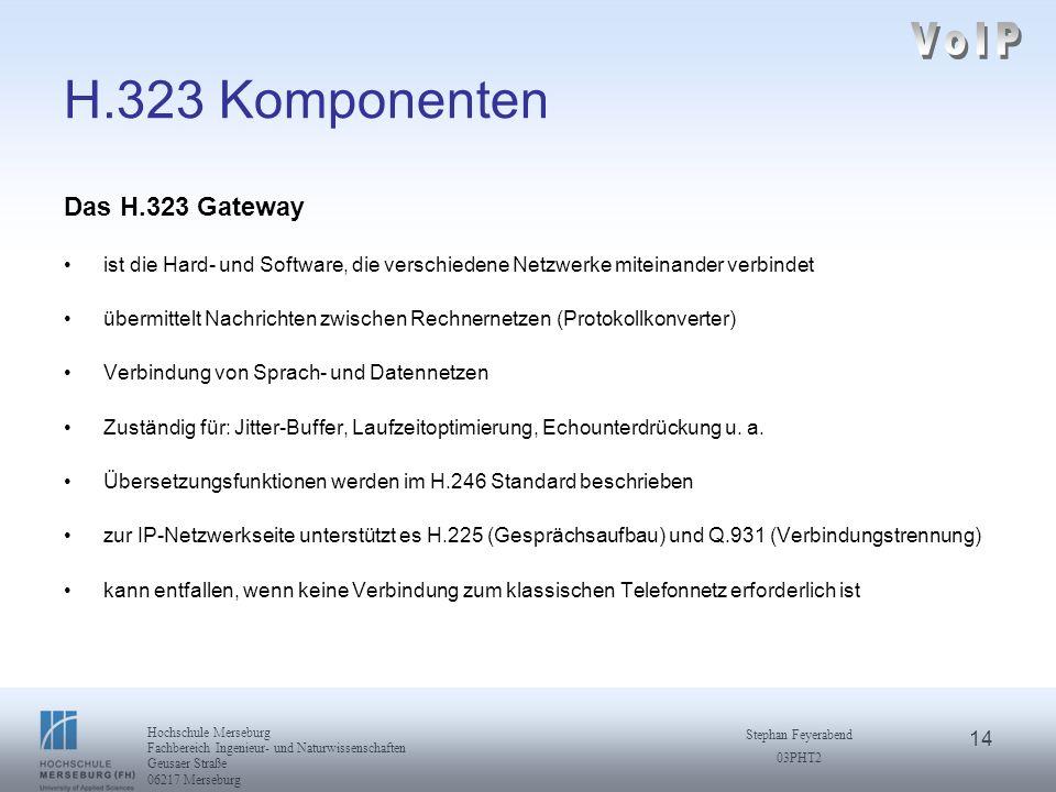 VoIP H.323 Komponenten Das H.323 Gateway