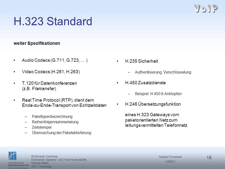 VoIP H.323 Standard weiter Spezifikationen