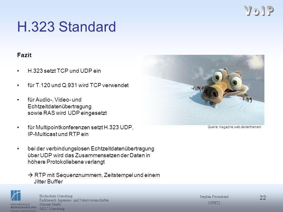 VoIP H.323 Standard Fazit H.323 setzt TCP und UDP ein