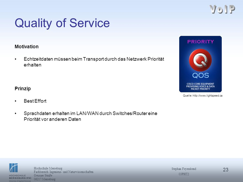 VoIP Quality of Service Motivation