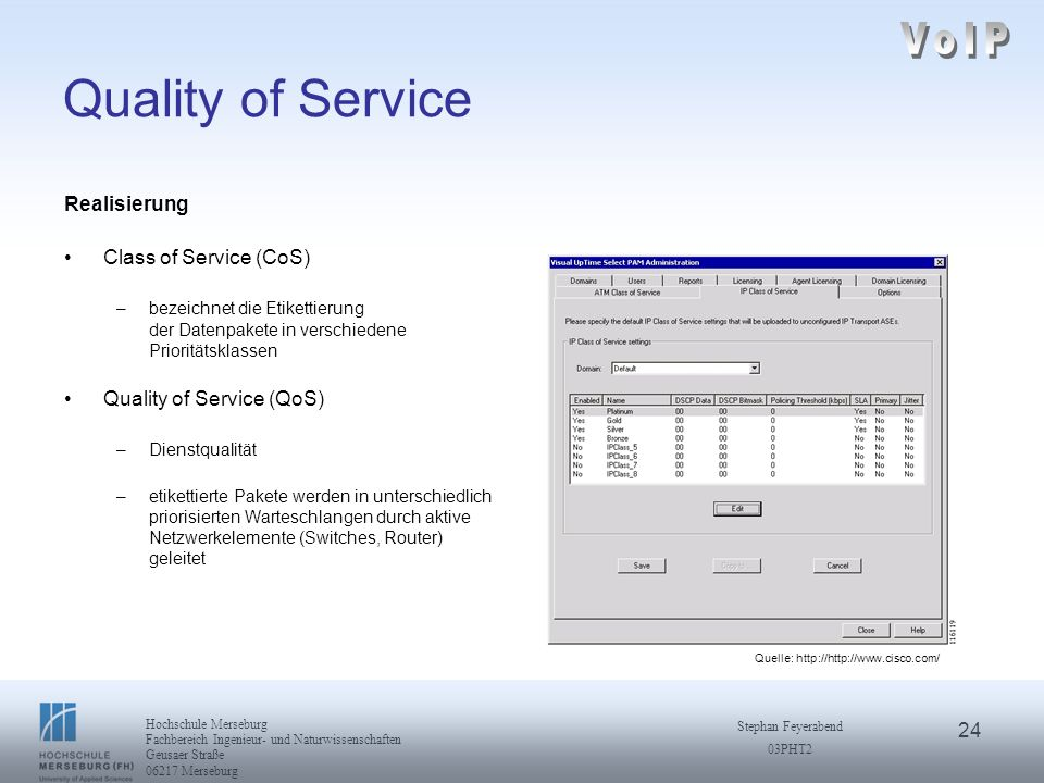 VoIP Quality of Service Realisierung Class of Service (CoS)