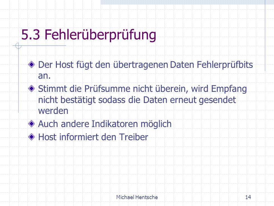 5.3 Fehlerüberprüfung Der Host fügt den übertragenen Daten Fehlerprüfbits an.