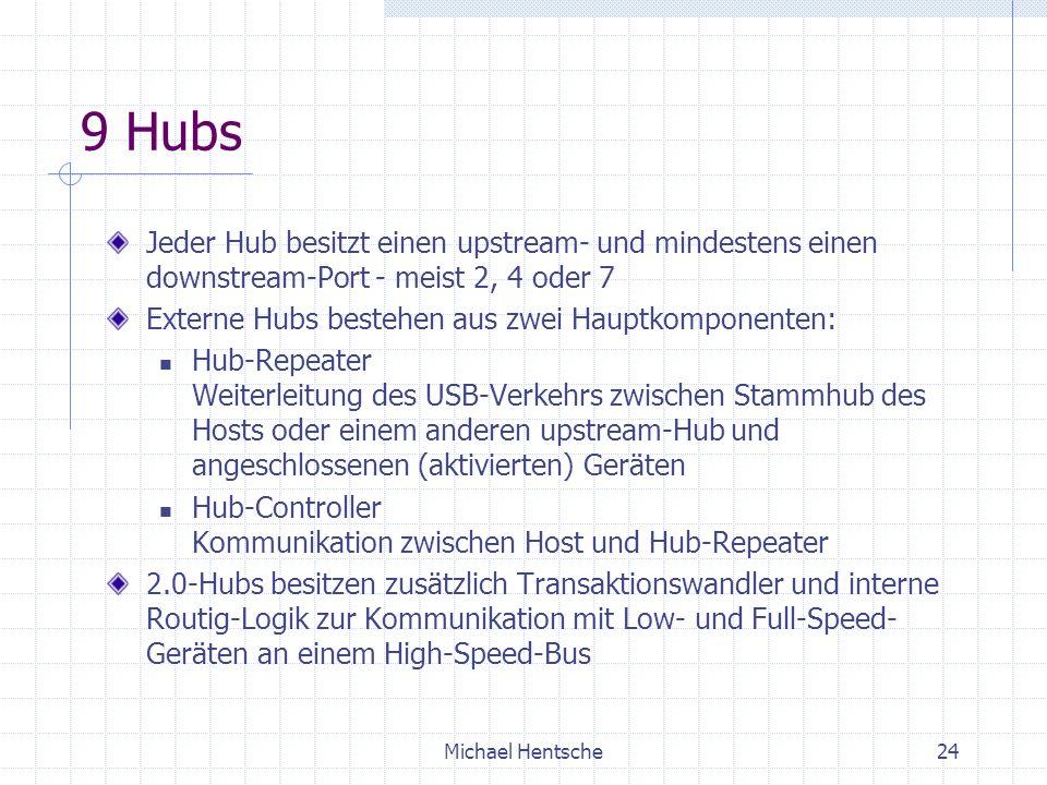 9 Hubs Jeder Hub besitzt einen upstream- und mindestens einen downstream-Port - meist 2, 4 oder 7. Externe Hubs bestehen aus zwei Hauptkomponenten: