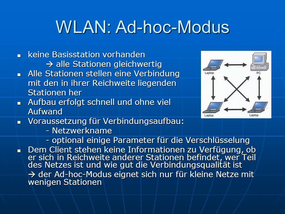 WLAN: Ad-hoc-Modus keine Basisstation vorhanden