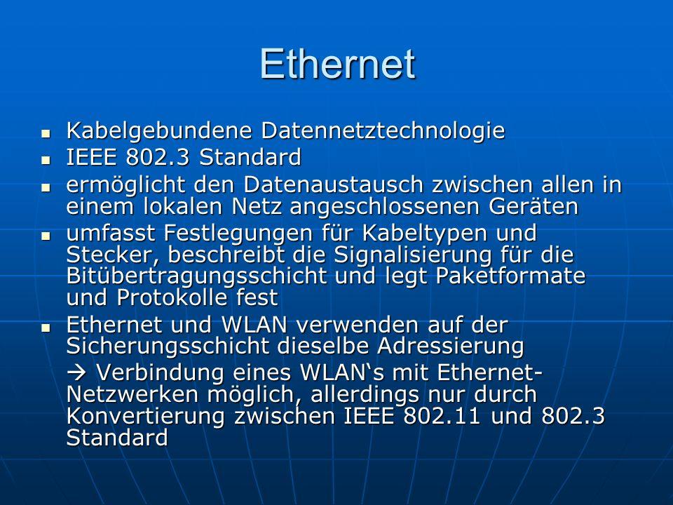 Ethernet Kabelgebundene Datennetztechnologie IEEE 802.3 Standard