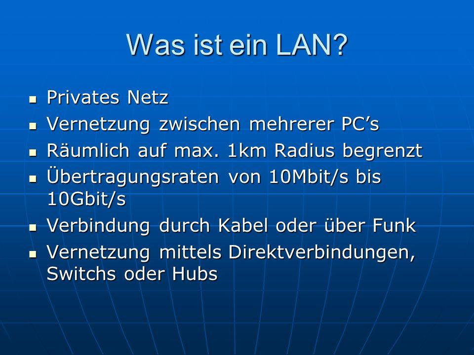 Was ist ein LAN Privates Netz Vernetzung zwischen mehrerer PC's