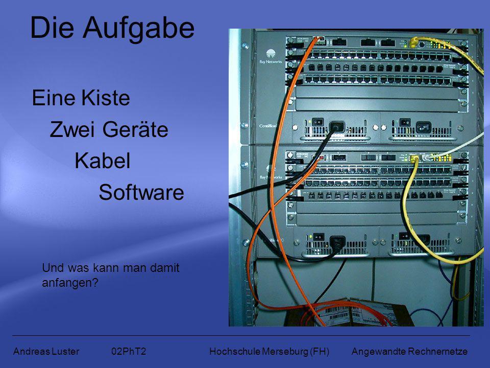 Die Aufgabe Eine Kiste Zwei Geräte Kabel Software