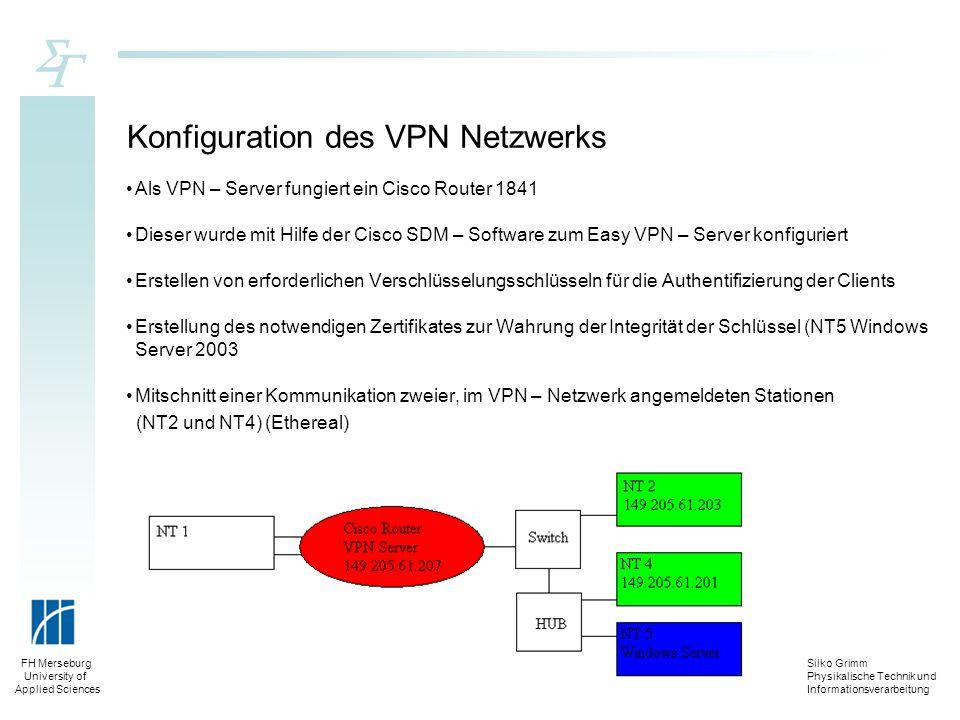 Konfiguration des VPN Netzwerks
