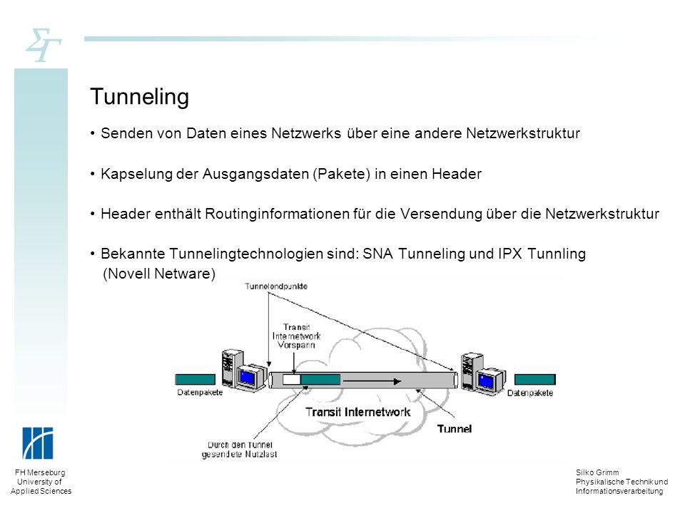 Tunneling Senden von Daten eines Netzwerks über eine andere Netzwerkstruktur. Kapselung der Ausgangsdaten (Pakete) in einen Header.