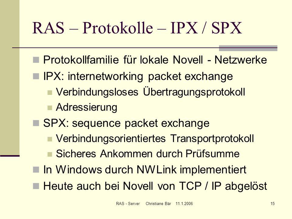RAS – Protokolle – IPX / SPX