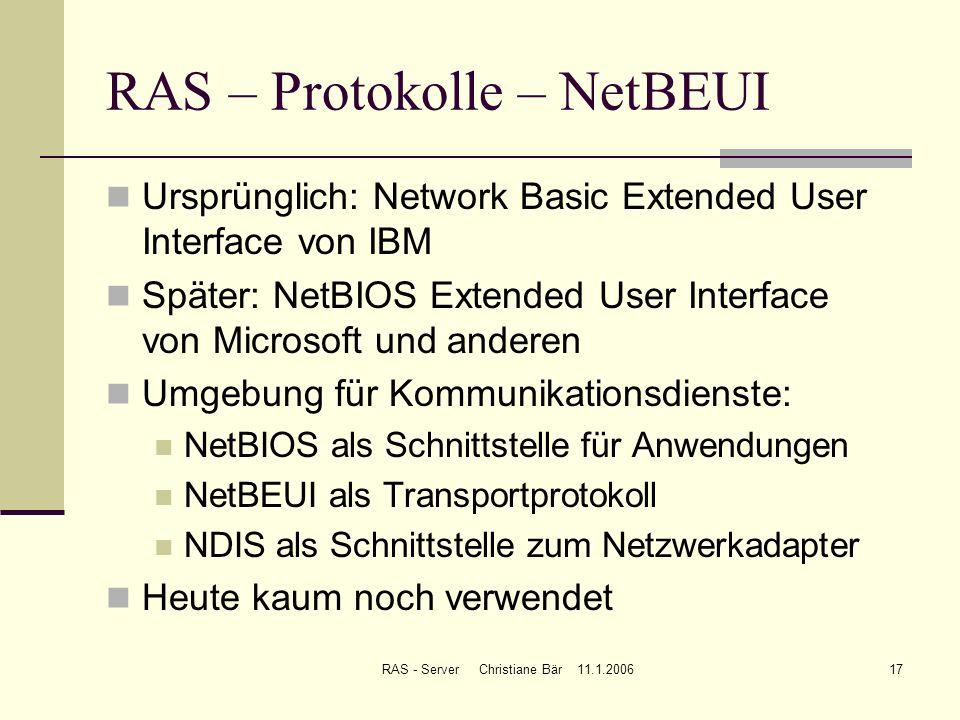 RAS – Protokolle – NetBEUI