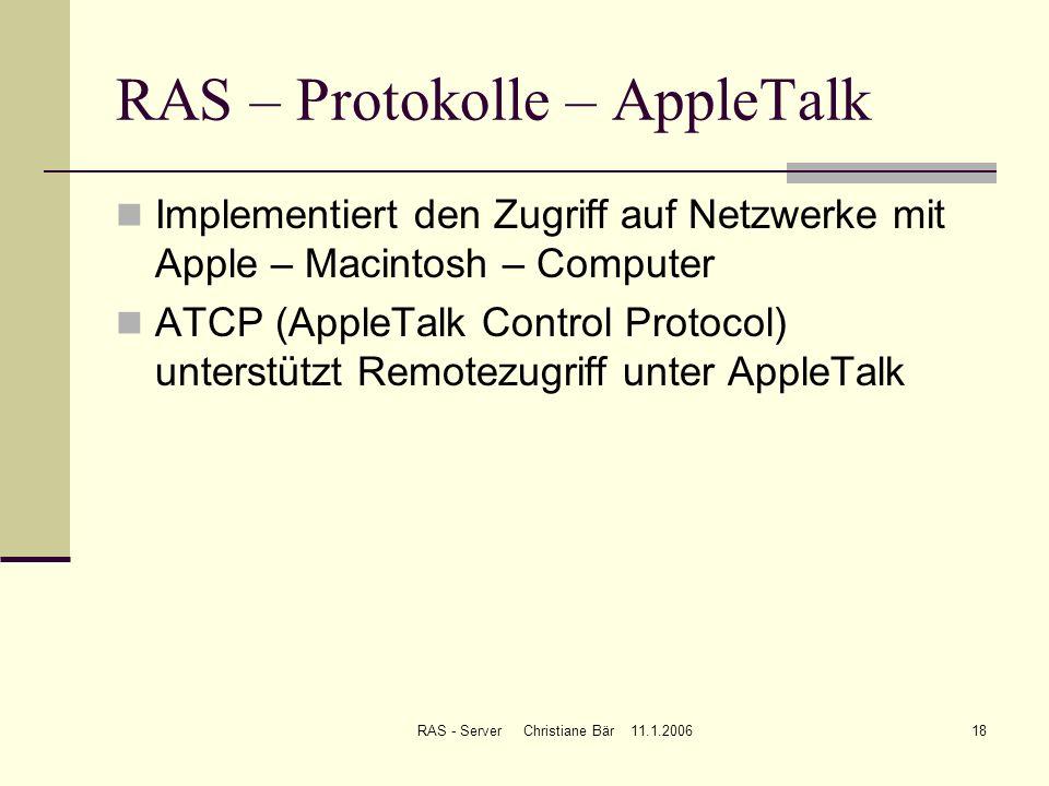 RAS – Protokolle – AppleTalk
