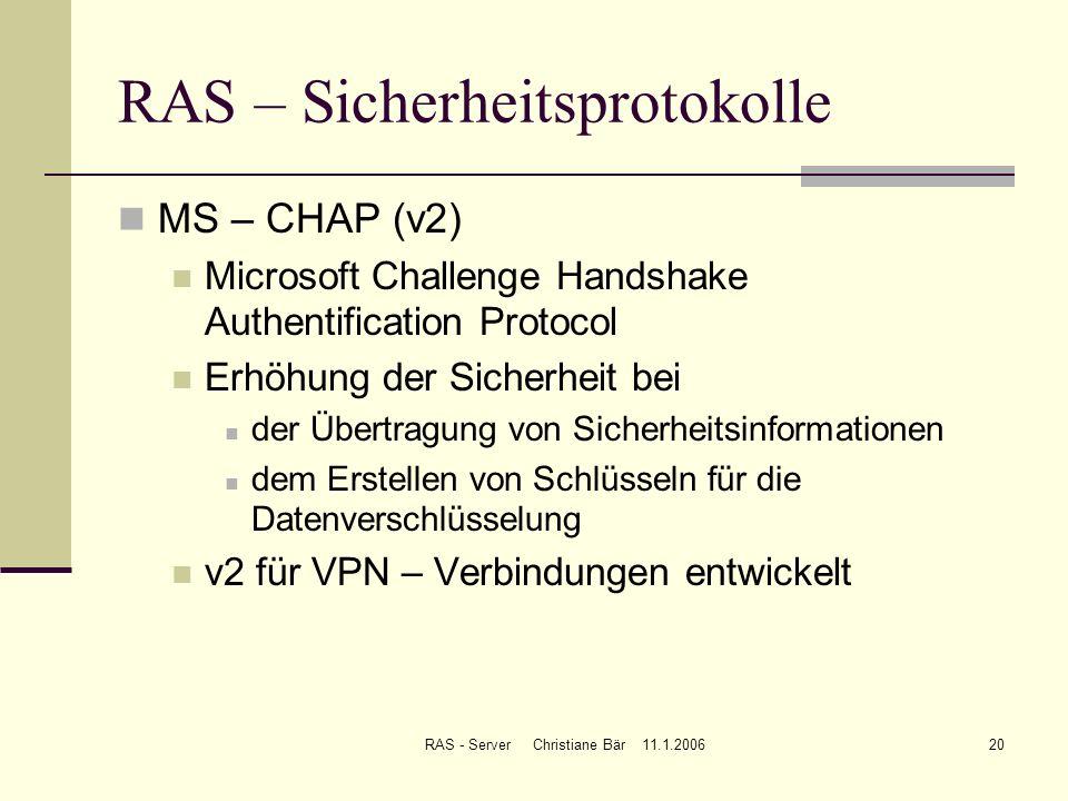 RAS – Sicherheitsprotokolle