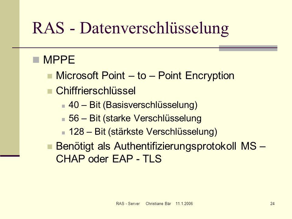 RAS - Datenverschlüsselung