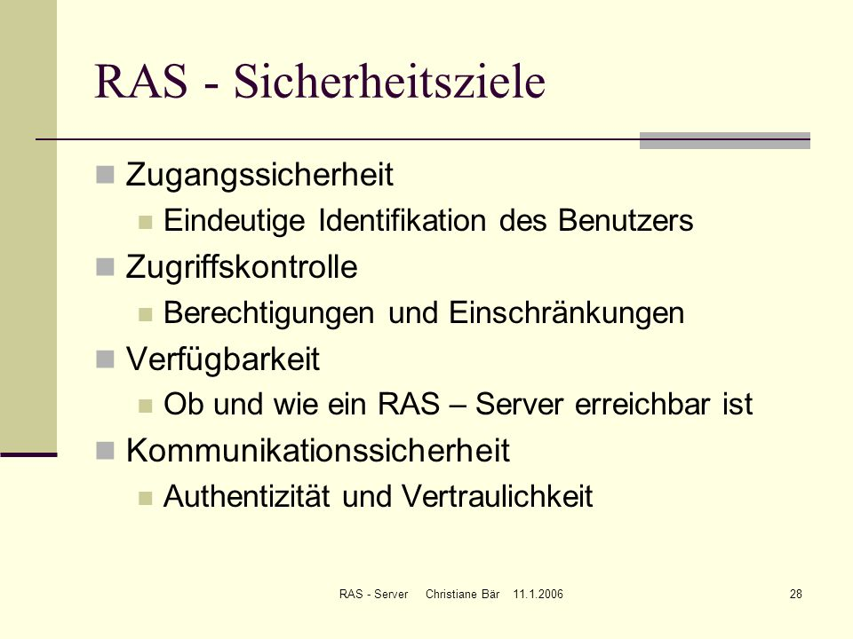 RAS - Sicherheitsziele
