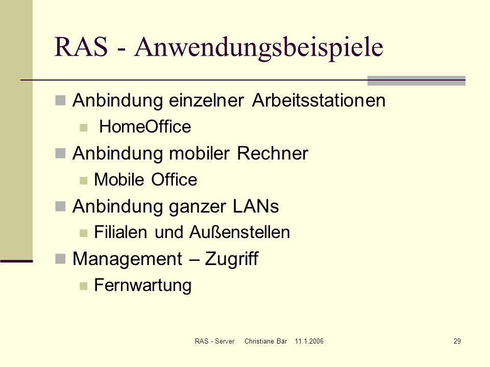 RAS - Anwendungsbeispiele