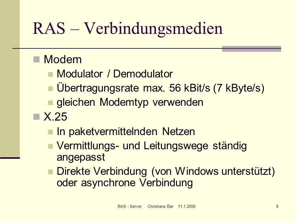 RAS – Verbindungsmedien