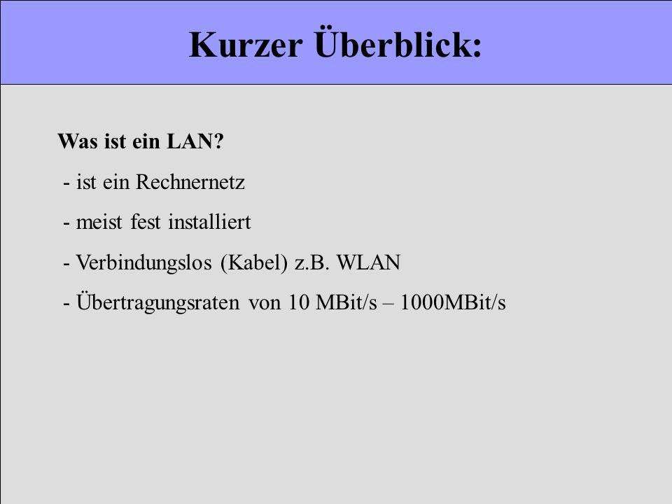 Kurzer Überblick: Was ist ein LAN - ist ein Rechnernetz