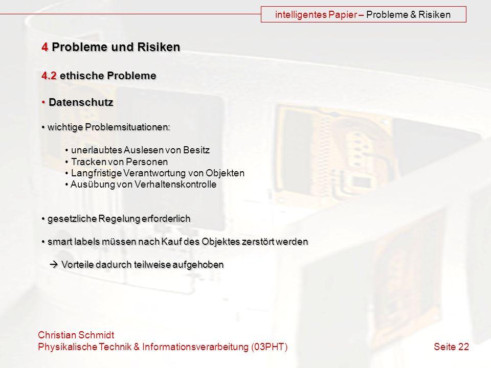 intelligentes Papier – Probleme & Risiken