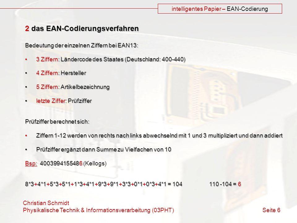 intelligentes Papier – EAN-Codierung
