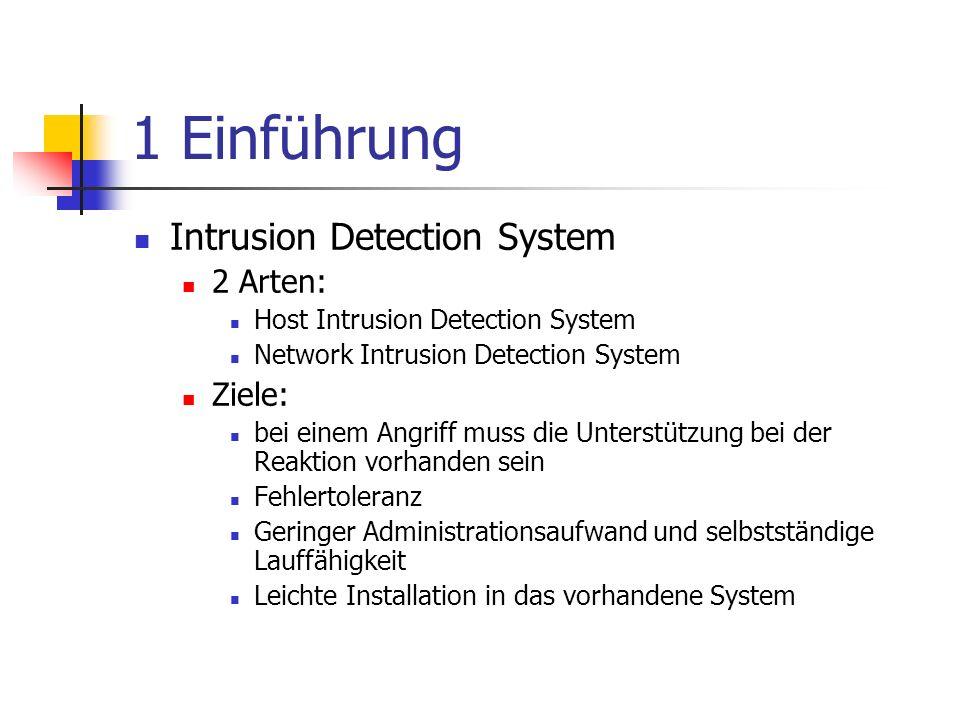 1 Einführung Intrusion Detection System 2 Arten: Ziele: