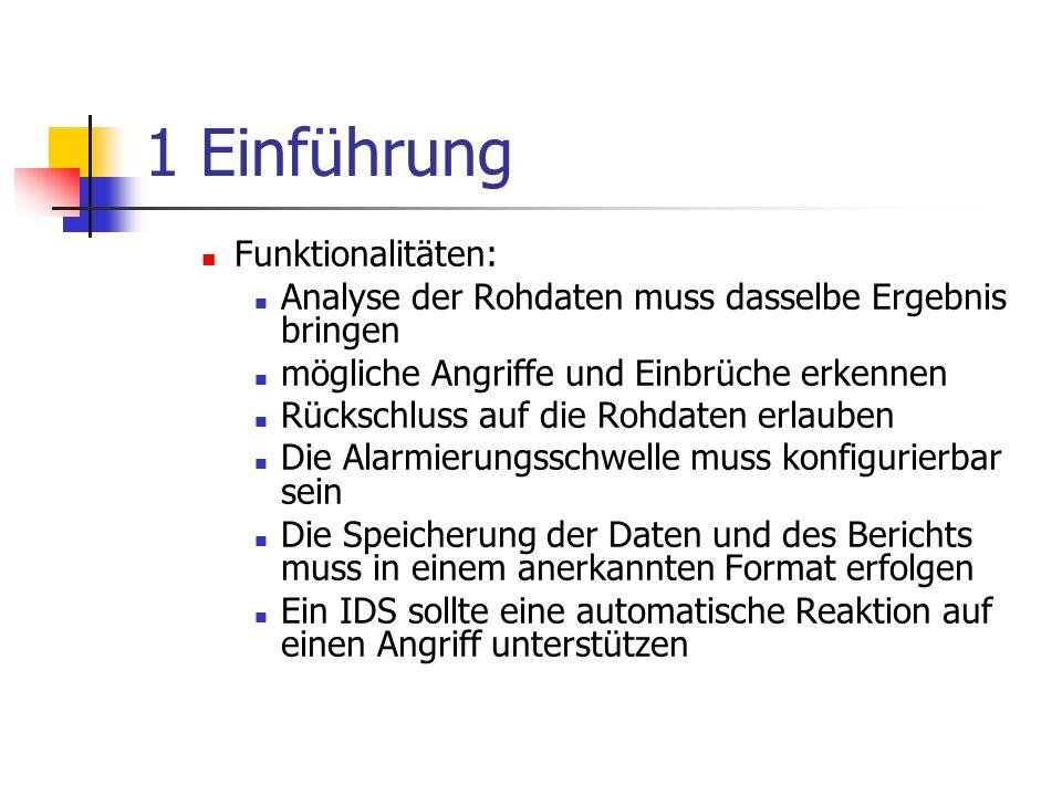 1 Einführung Funktionalitäten: