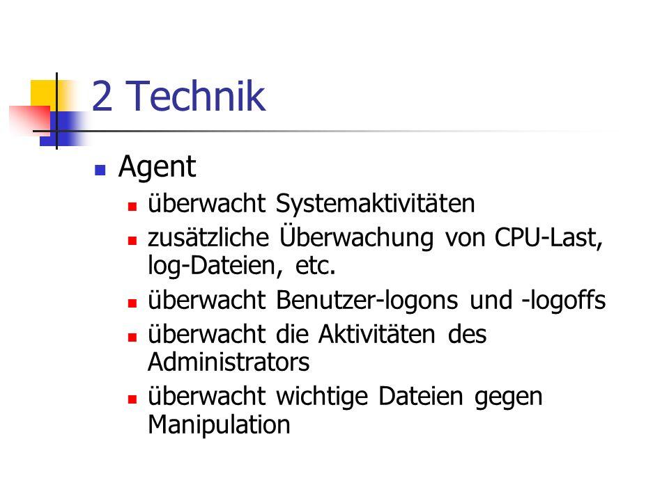 2 Technik Agent überwacht Systemaktivitäten