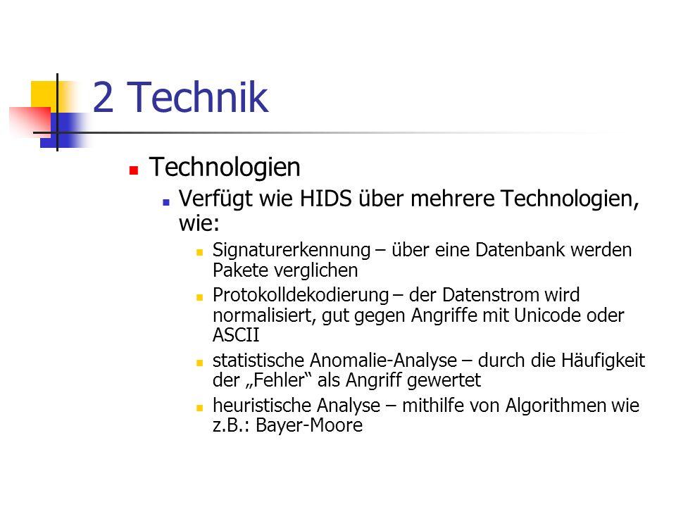 2 Technik Technologien. Verfügt wie HIDS über mehrere Technologien, wie: Signaturerkennung – über eine Datenbank werden Pakete verglichen.