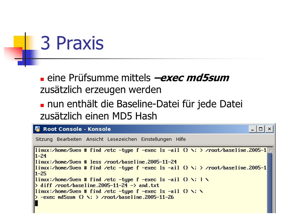 3 Praxis eine Prüfsumme mittels –exec md5sum zusätzlich erzeugen werden.