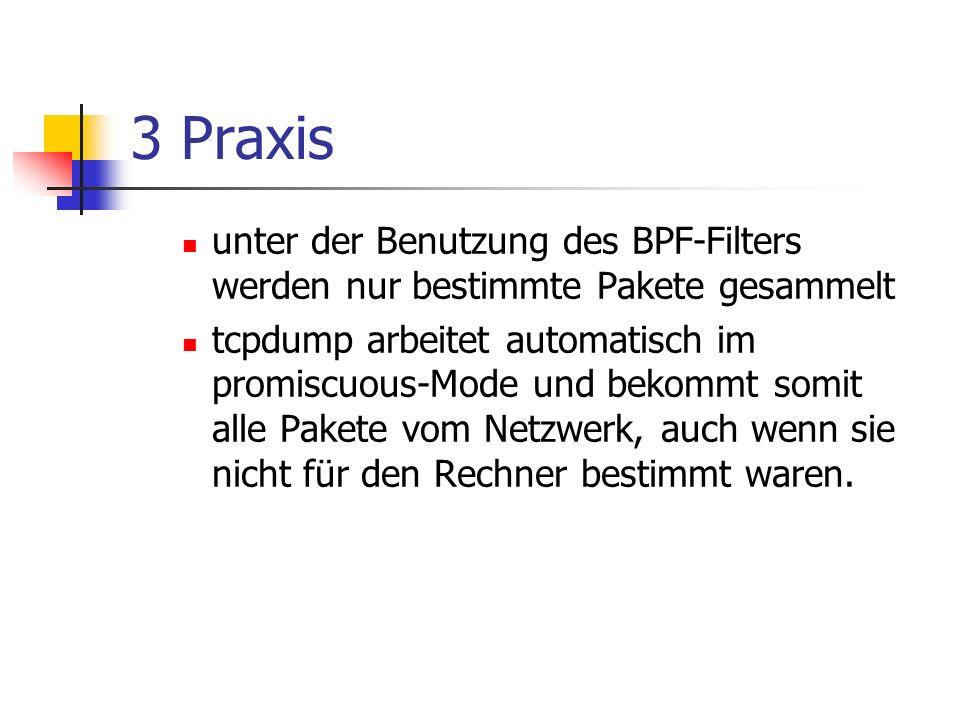 3 Praxis unter der Benutzung des BPF-Filters werden nur bestimmte Pakete gesammelt.